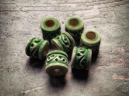 dreadmind dreadlocks shop dreadperlen Holz Paisley-Green